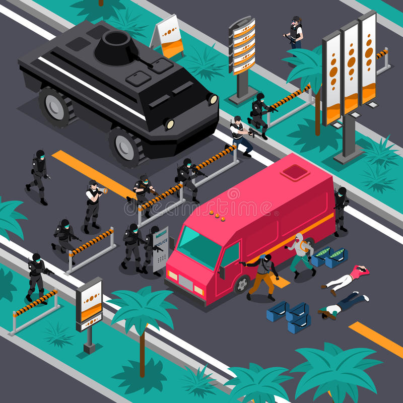 Swat In Action Isometric Composition Poster vector illustration