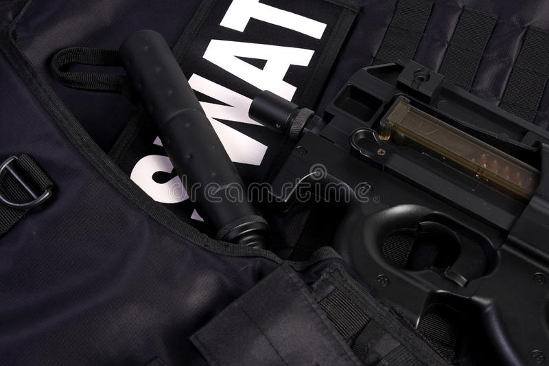 Download SWAT armor and rifle stock photo. Image of officer, occupation - 19324152