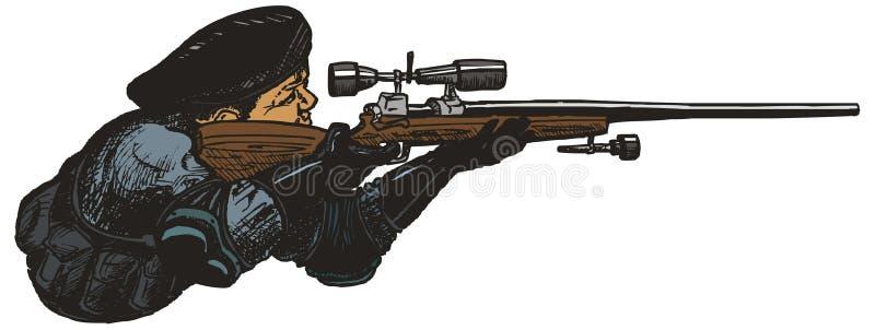 SWAT de tireur isolé. illustration de vecteur
