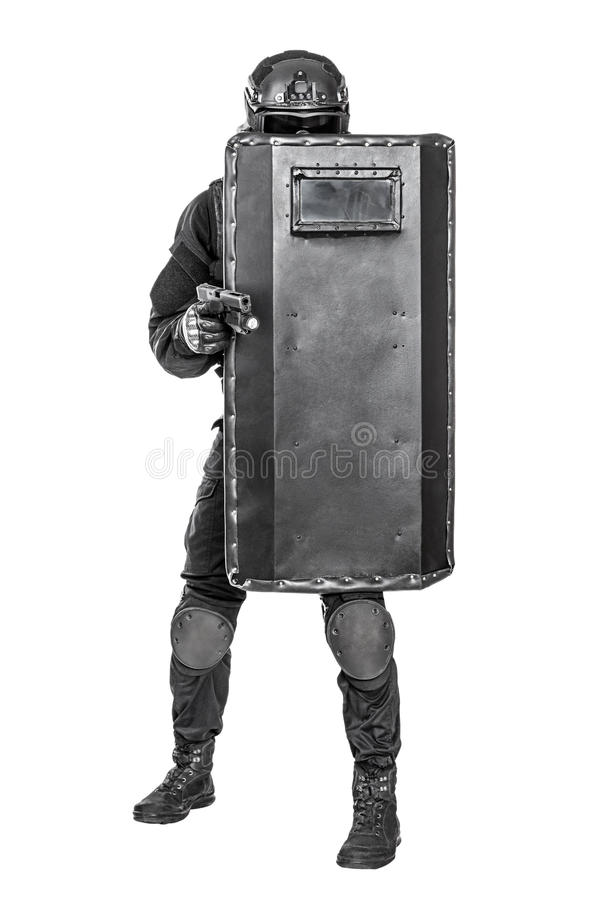 Free SWAT Officer With Ballistic Shield Royalty Free Stock Photography - 60780117