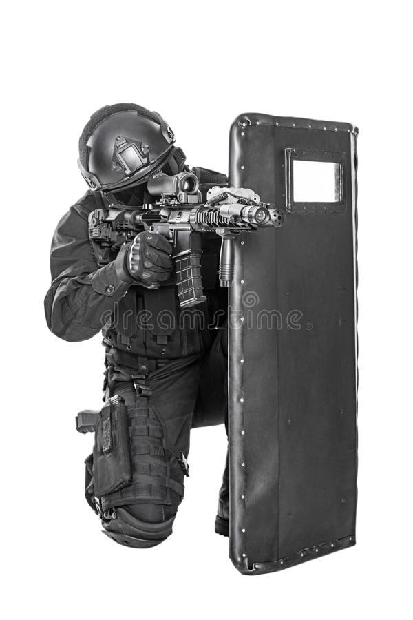 Free SWAT Officer With Ballistic Shield Royalty Free Stock Image - 60780356