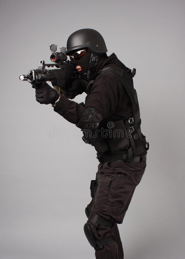 SWAT police officer stock image