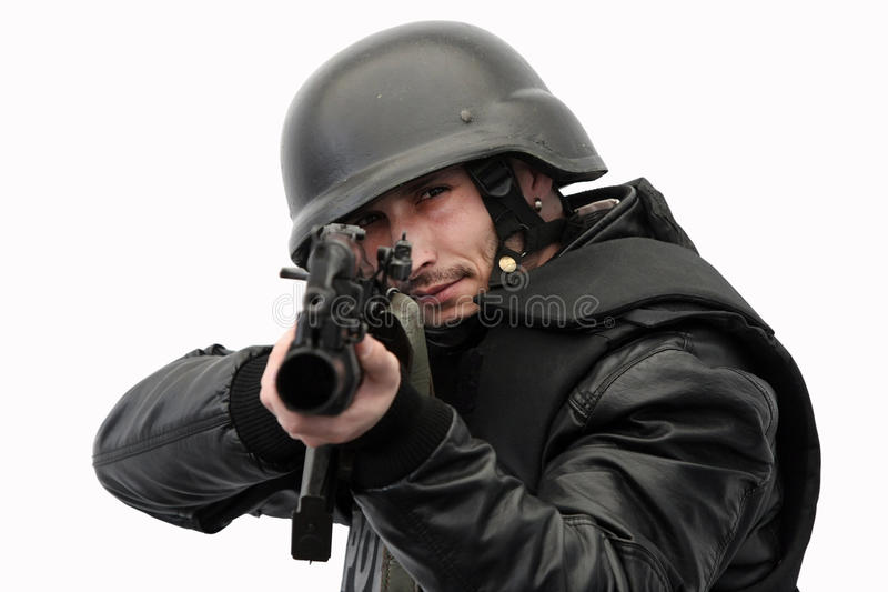 SWAT police officer in action stock photo