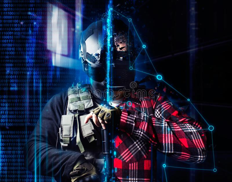 Vr gamer soldier in helmet. stock images