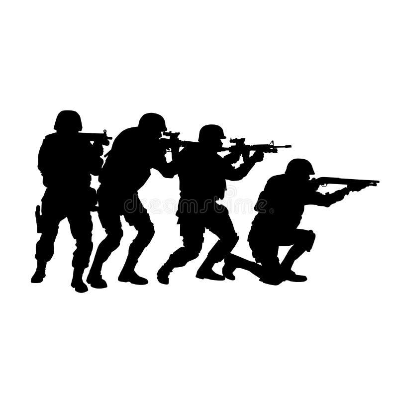 SWAT-Team im Stapelaufbau-Vektorschattenbild vektor abbildung