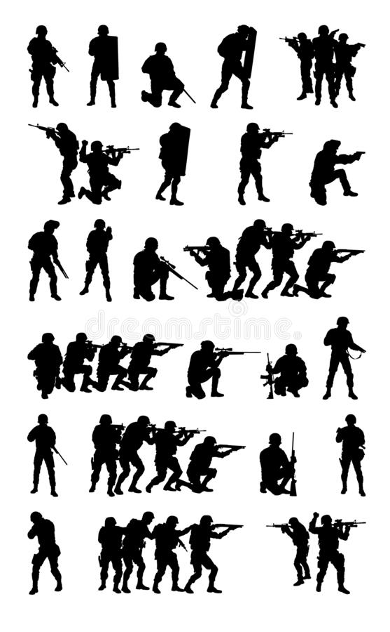 SWAT-Team-Satzsammlungsvektorschwarzschattenbild stock abbildung
