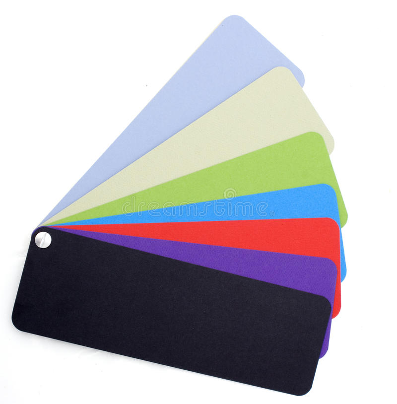 Swatch fan. Colour swatches fanned out on a white background stock image