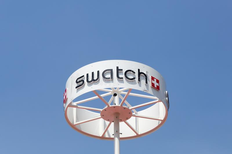 Swatch Sign On A Circular Pole Editorial Stock Photo Image of