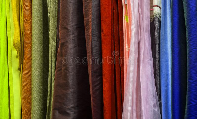 Swatches. Assortment of the home textiles stock photos