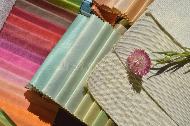 Swatches of fabrics for home decoration. Different colors and textures royalty free stock image