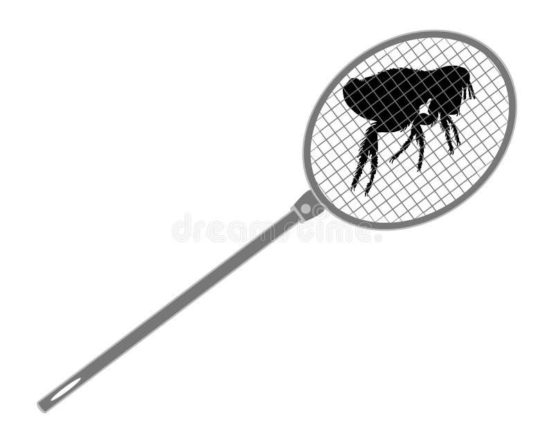 Swatter de mosca cinzento acima de uma pulga ilustração stock