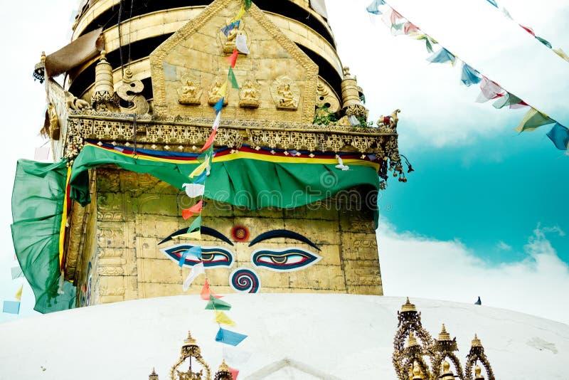 Swayambhunath stupa Eye Buddha Kathmandu royalty free stock photography