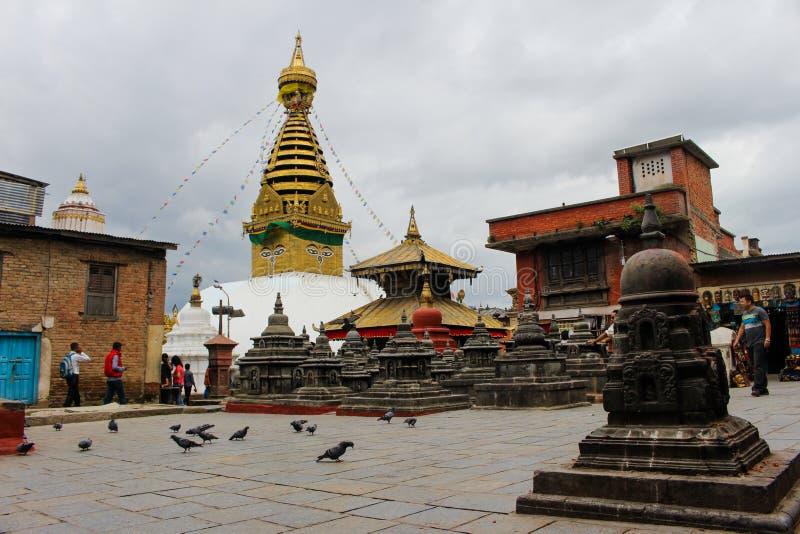 Swayambhunath is Belangrijkste Plaats royalty-vrije stock afbeeldingen