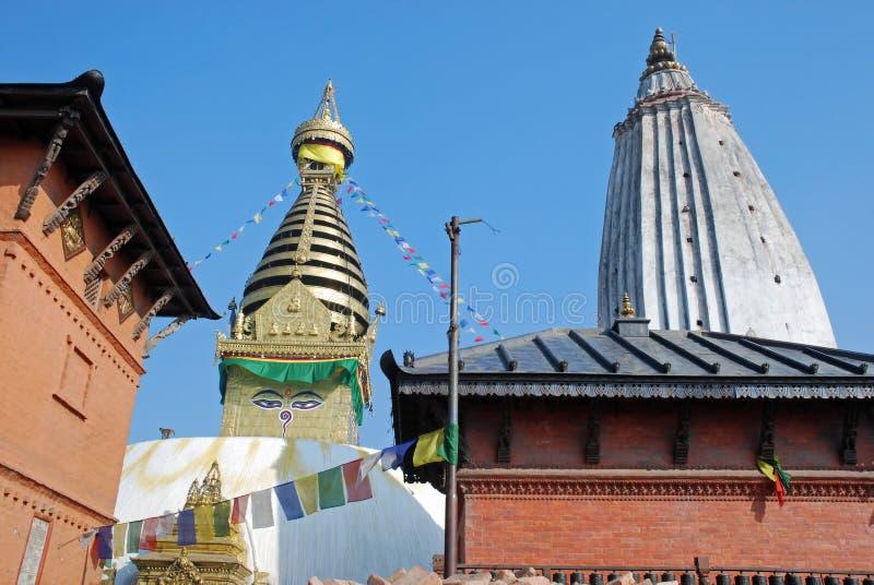 Swayambhunath Buddhist stupa - temple - Kathmandu. Swayambhunath Buddhist stupa an ancient religious complex also know as the monkey temple. Surrounded by royalty free stock photo