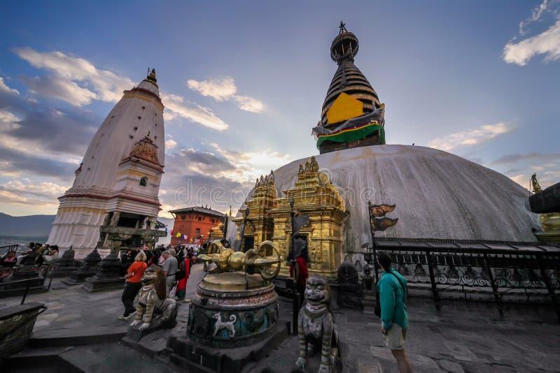 Swayambhunath stupa加德满都 免版税库存照片