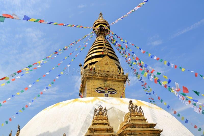 """Swayambhunath Stupa, αποκαλούμενο επίσης """"ναό πιθήκων """"στο Κατμαντού στο Νεπάλ στοκ φωτογραφίες"""
