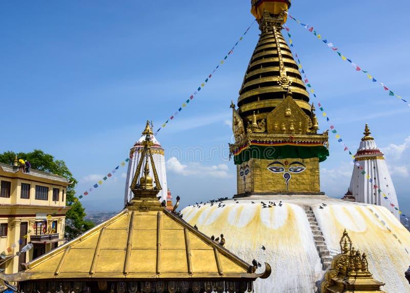 Swayambhunath Stupa em KATHMANDU fotografia de stock