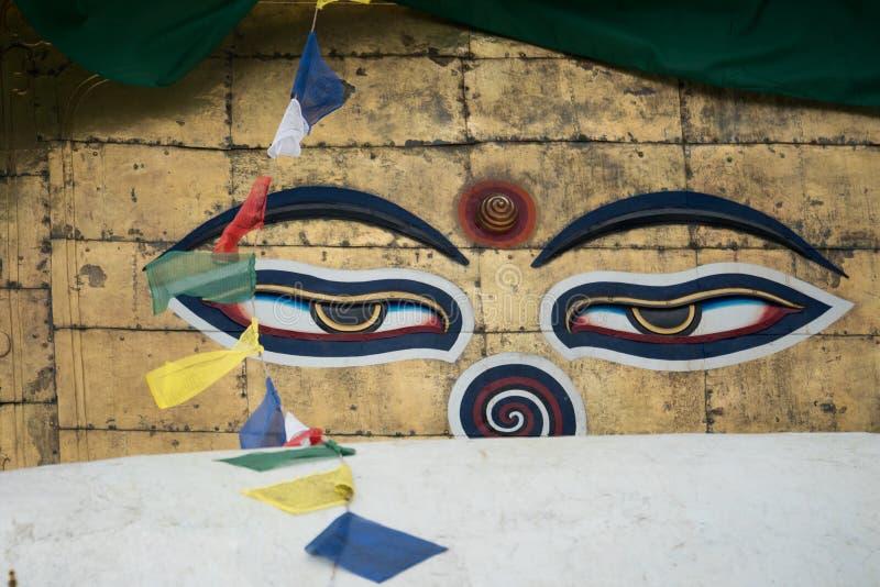 Swayambhunath stupa Eye Buddha Kathmandu. Swayambhunath is an ancient religious architecture atop a hill in the Kathmandu Valley, west of Kathmandu city. The stock image