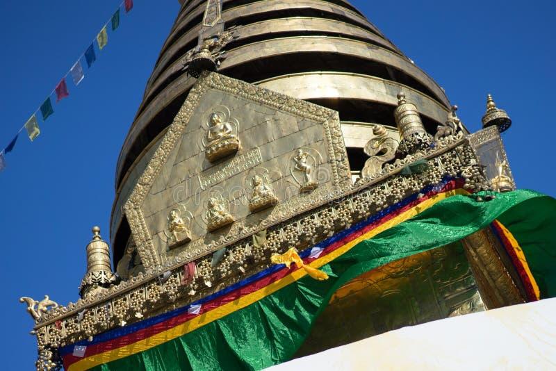 Swayambhunath stupa Eye Buddha Kathmandu royalty free stock photo