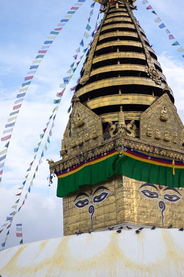 Swayambhunath stupa Eye Buddha Kathmandu stock image
