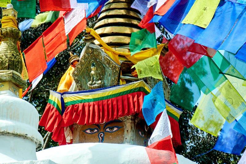 Swayambhunath stupa Eye Buddha Kathmandu stock photo
