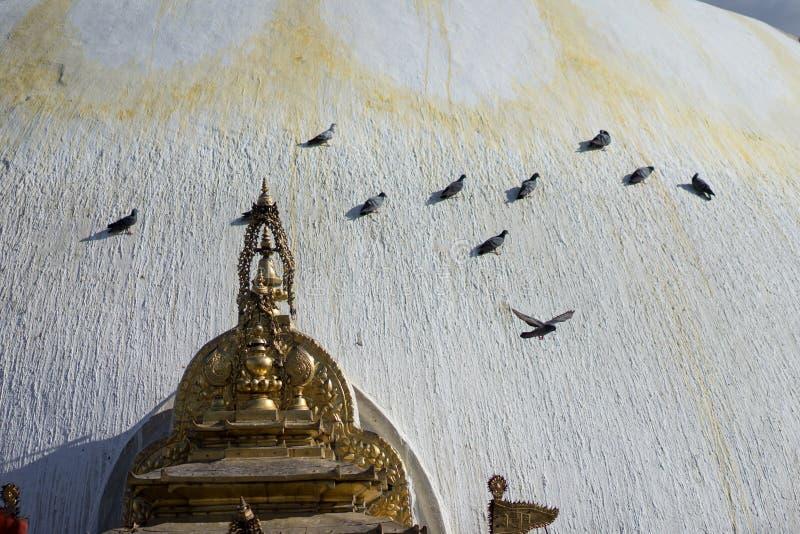 Swayambhunath stupa Eye Buddha Kathmandu stock photos