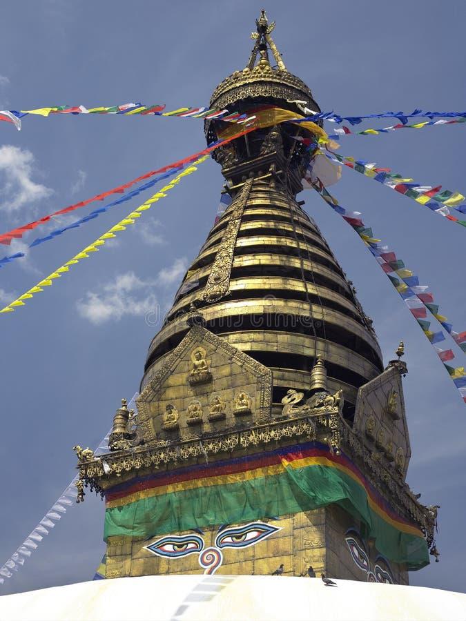 Swayambhunath Stupa - Kathmandu em Nepal fotografia de stock royalty free