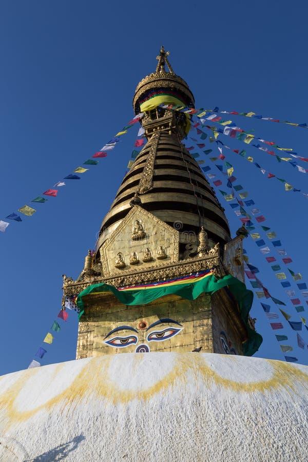 Swayambunath Stupa em Kathamandu, Nepal foto de stock