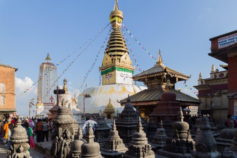 Swayambunath Stupa in Kathamandu, Nepal stockfotos