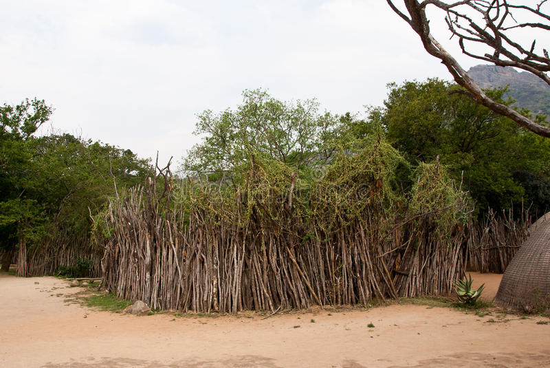 Swazi Kraal. Kraal is the cattle enclosure and the holiest place in African traditional village royalty free stock photography