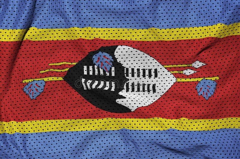 Swaziland flagga som skrivs ut på en fabr för ingrepp för polyesternylonsportswear royaltyfria foton