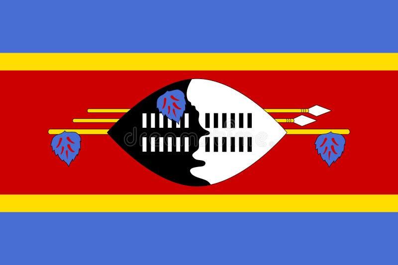Swaziland lägenhetflagga stock illustrationer