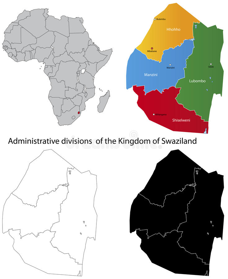 Free Swaziland Map Royalty Free Stock Image - 22231886