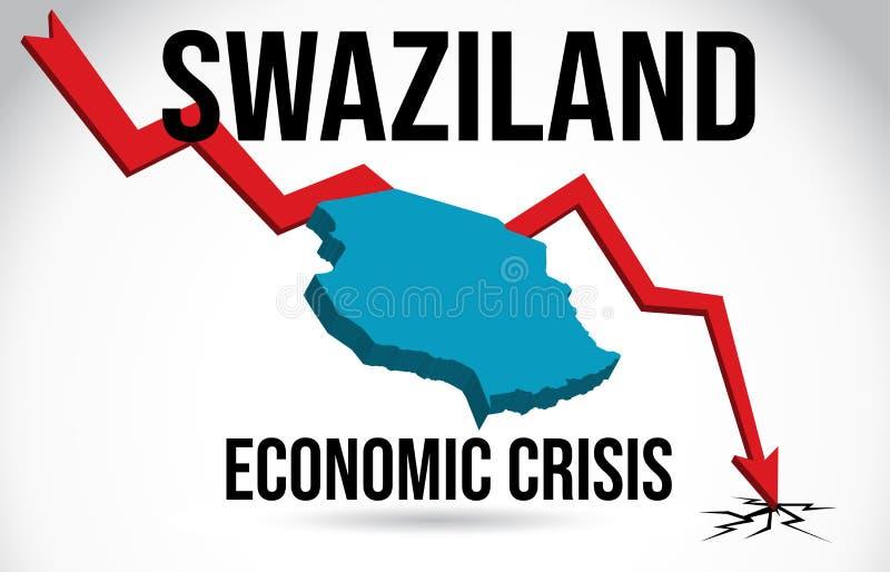 Swaziland Map Financial Crisis Economic Collapse Market Crash Global Meltdown Vector. Illustration stock illustration