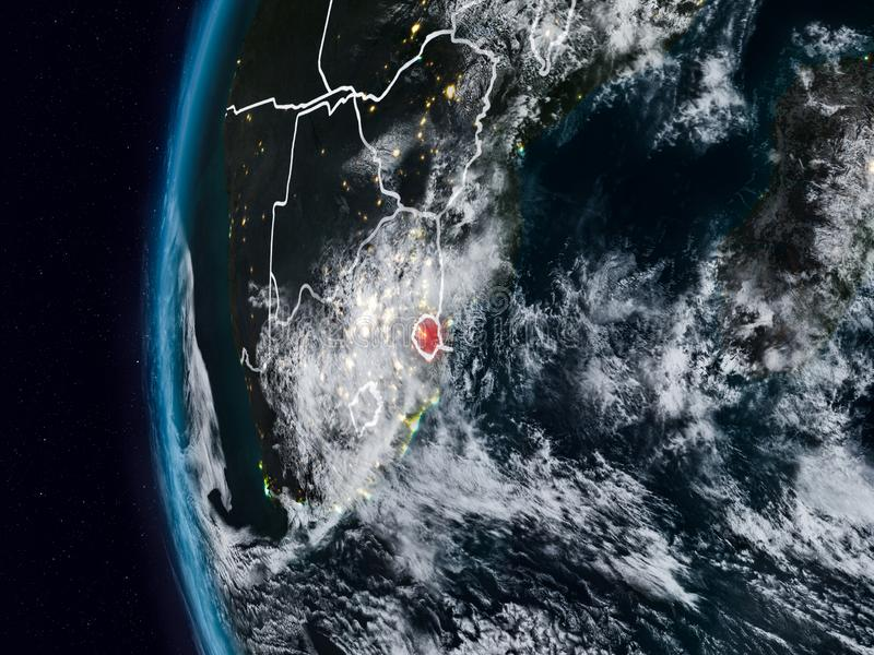Swazilandia del espacio durante noche ilustración del vector