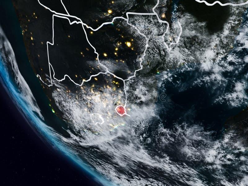 Swazilandia en la noche del espacio ilustración del vector