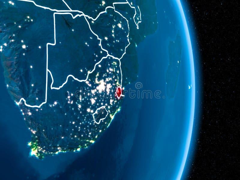 Swazilandia en rojo en la noche libre illustration