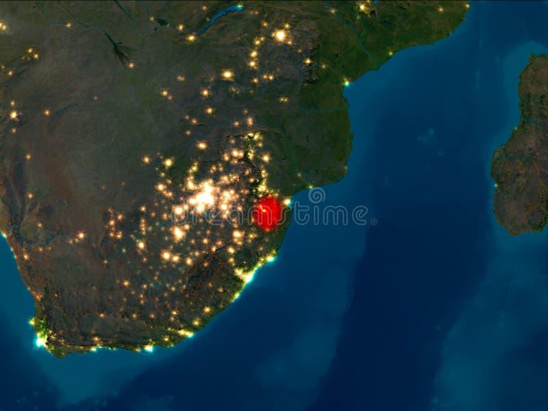 Swazilandia en rojo en la noche ilustración del vector