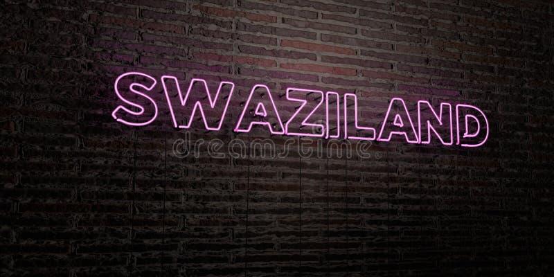 SWAZILANDIA - señal de neón realista en fondo de la pared de ladrillo - 3D rindió imagen común libre de los derechos libre illustration