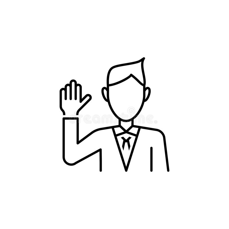 Swear icon. Element of legal services thin line icon. On white background royalty free illustration