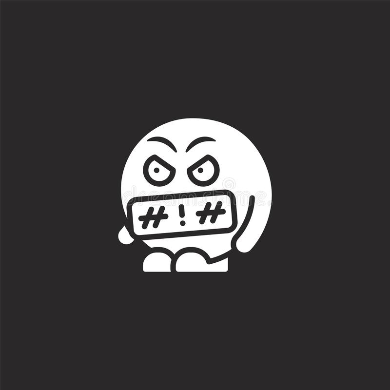 Swearing icon. Filled swearing icon for website design and mobile, app development. swearing icon from filled emoji people. Collection isolated on black vector illustration