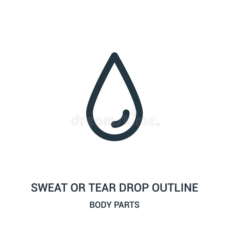 sweat or tear drop outline icon vector from body parts collection. Thin line sweat or tear drop outline outline icon vector vector illustration