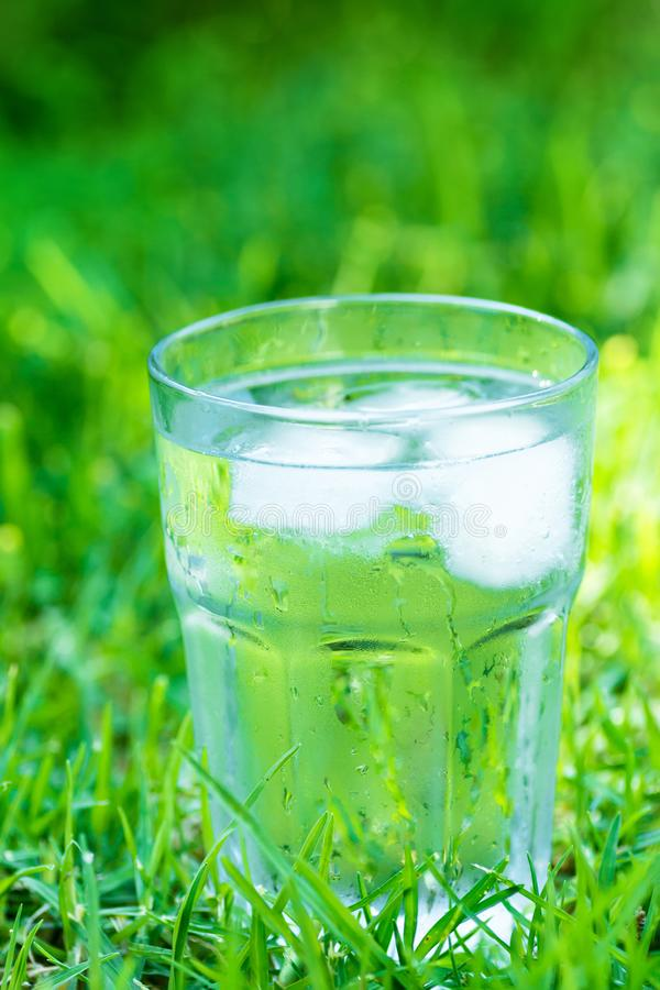 Sweated frosty glass with clear pure cool water with ice cubes on green grass background. Hydration summer refreshment. Minerals health concept. Copy space royalty free stock photo
