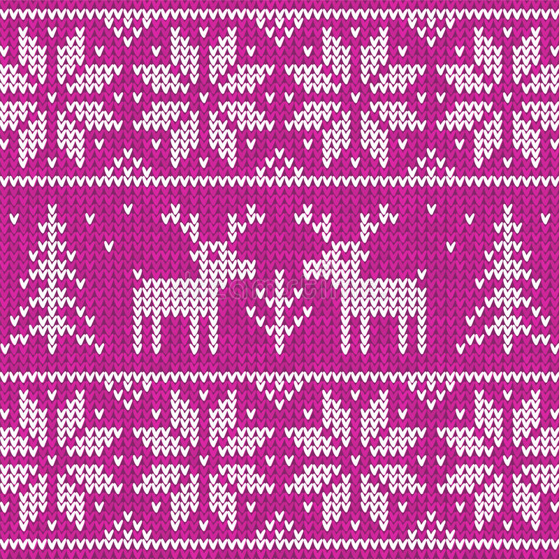 Sweater with deer. Purple sweater with deer seamless pattern vector illustration