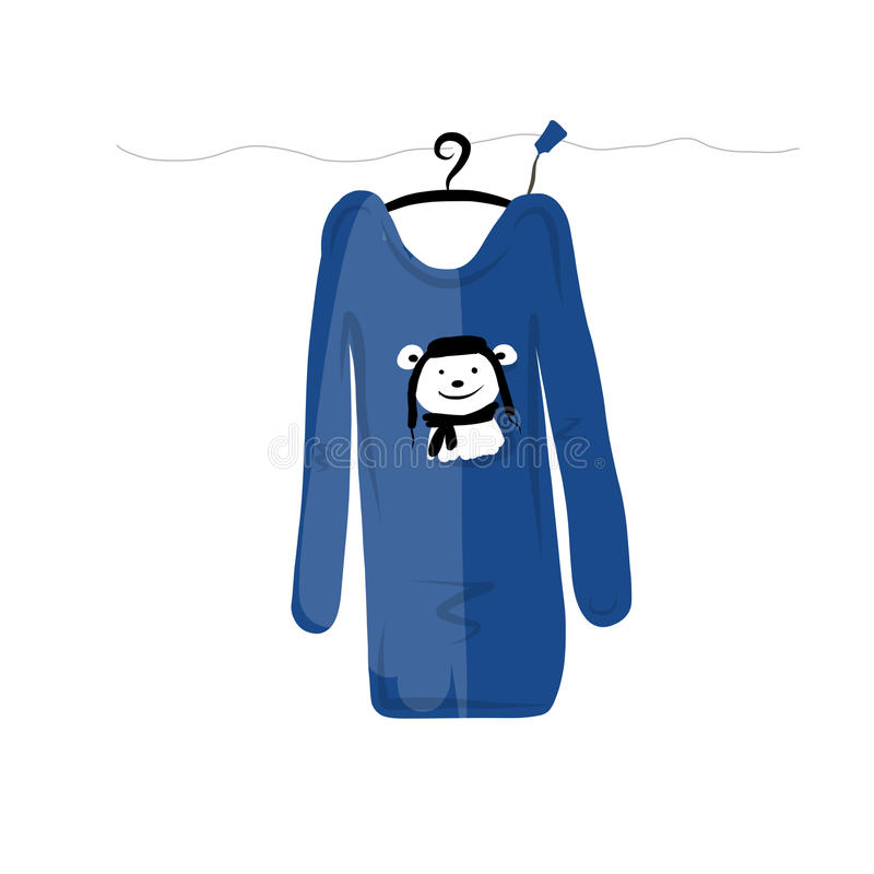 Sweater on hangers with funny bear design stock illustration