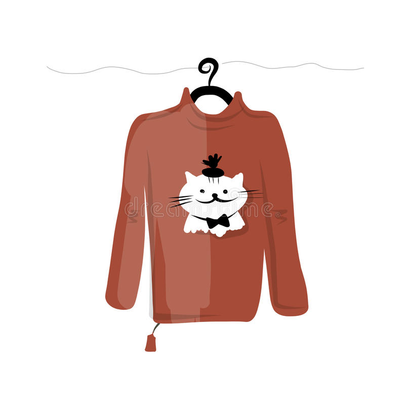 Sweater on hangers with funny cat design royalty free illustration