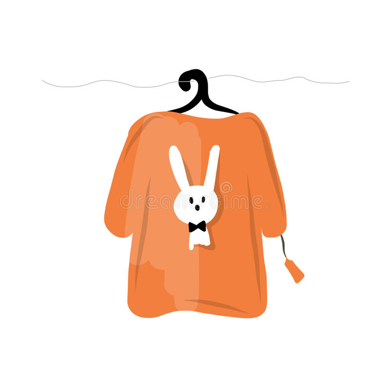 Sweater on hangers with funny rabbit design vector illustration