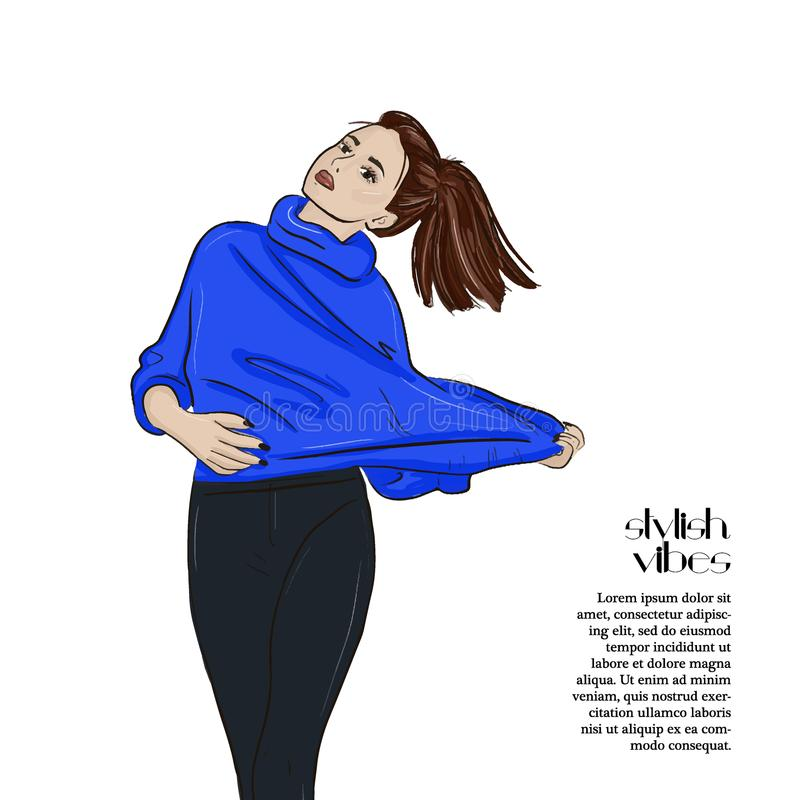 Sweater weather vector sketch illustration. Girl in jumper and jeans city cartoon character. Woman glamour print. Street vector illustration