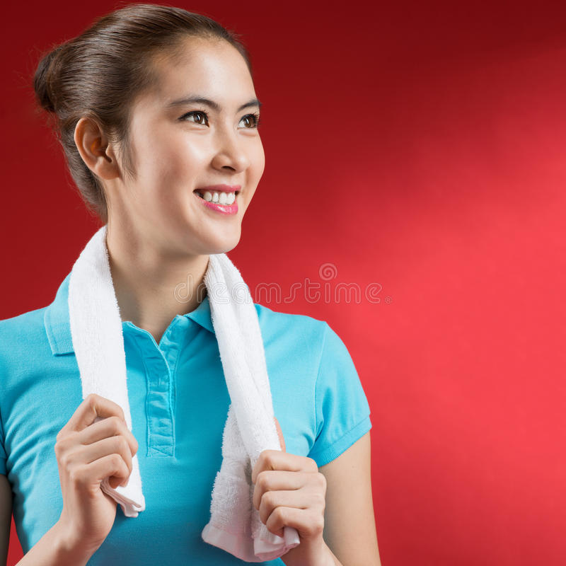 Download Sweating sportswoman stock photo. Image of happiness - 33275386
