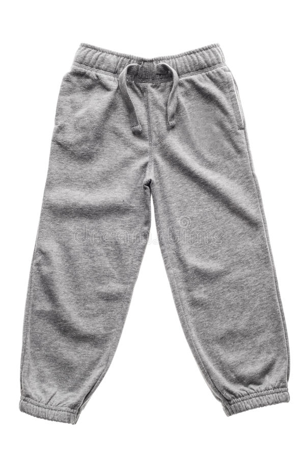 Sweatpants cinzentos isolados fotografia de stock